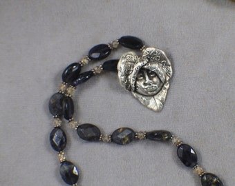 Sterling Silver Iolite Beads with Heartchild Pendant Signed