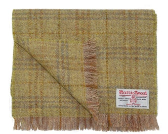 Harris Tweed Oatmeal & Ochre Tartan Luxury Pure Wool Mens or Womens Neck Scarf
