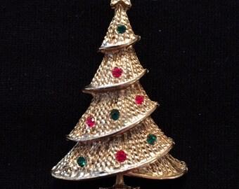Rhinestone Christmas Tree Brooch /Pin