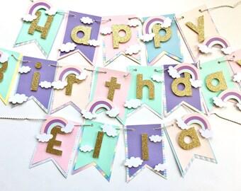 Rainbow happy birthday banner and name! Rainbow theme birthday banner, pastel rainbow birthday decorations, rainbow party supplies