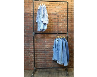 Industrial Pipe Clothing Rack Double Row - Heavy Duty