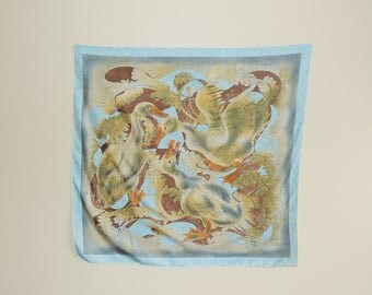 Vtg Duck Print Silk Scarf, Art to Wear Blue Silk Scarf, Hand-Rolled Hem Retro Scarf, Artsy Silk Shawl, Sky Blue Scarf, Summer Scarf