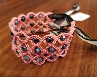 Crochet Beaded Ribbon Cuff (Pink/Black)