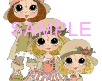 Fabric Art Quilt Block - Whimsical Friends / Sisters  17-049 FREE Shipping