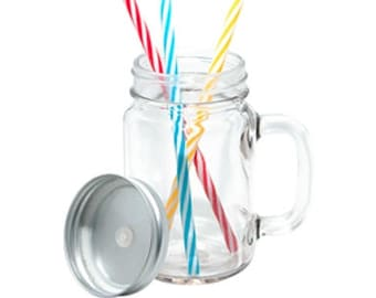 Clear 12 oz mason jar with a straw