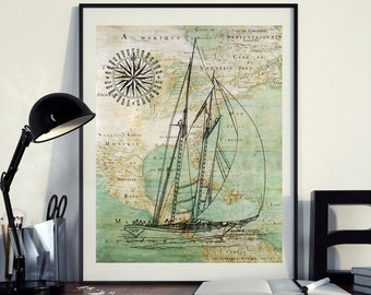 Vintage Map of North America Yacht Sailing Compass Ocean Seaside Nautical Poster Instant Download Printable A4 A3 8×10 & 11x14 Wall HQ300dpi