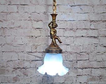 Antique Vintage Chandelier Cherub Pendant Light Fixture Petite Glass