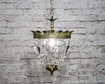 Antique Vintage Chandelier Petite Crystal and Bronze Basket FIxture Lamp