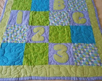Handmade ABC/123 Applique Baby/Toddler Quilt