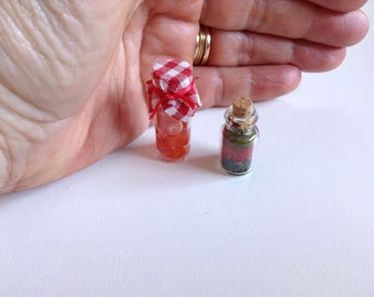 Miniature preserves, handmade, pack of 2/ miniature pantry/ miniature food / dollhouse food/ dollhouse pantry/ country style miniatures
