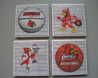 University of Louisville (Basketball) Themed Ceramic Tile Coasters - Set of 4