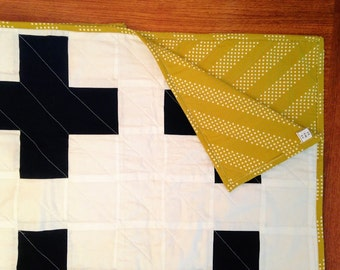 The New Addition Quilt - White and Black Modern Plus Sign Quilt - One of a Kind