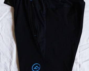 Athleticguru Sport Shorts Black with slanted Blue logo