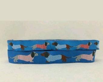 1 Metre Blue Dachshund Dog Collar/Lead Jacquard Ribbon 16mm