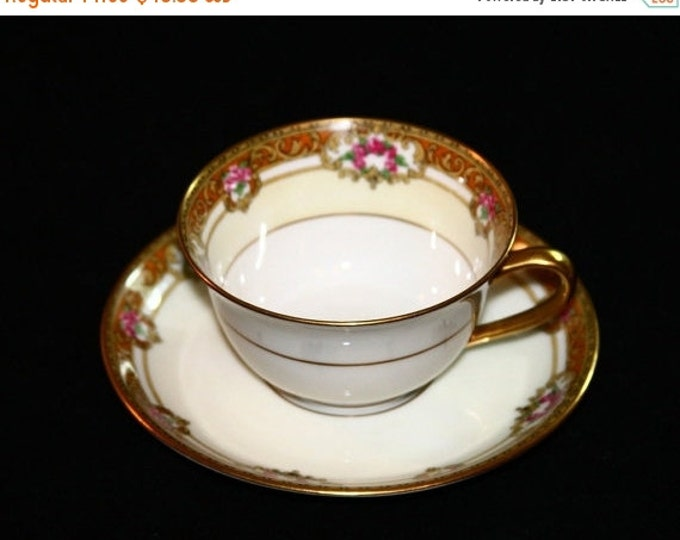 Storewide 25% Off SALE Antique Old Abbey Limoges French Fine Porcelain Teacup & Matching Saucer Featuring Hand Painted Gold Accent Design