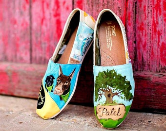 Natural Wedding Shoes Bride's Shoes Size 8.5 Hand Painted Wedding Shoes TOMS Natural Art Wedding TOMS Folk Art Painting Custom Wedding Shoes