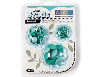 Brads, 54 count, aqua