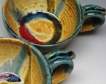 Set of 2 Soup Bowls Blue Splash , Soup Mugs, Ayers Pottery, Pottery Bowl, Handmade Pottery, Stoneware Bowl