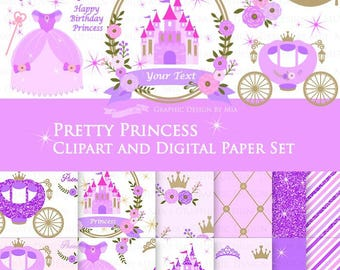 20% off  Princess Purple Clip Art + Digital Paper Set / Pretty Princess violet / Purple Glitter / Princess Birthday  Party- Instant Download