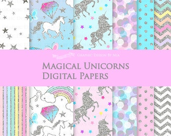 Magical Unicorns / Silver Glitter Unicorns / Einhorn / Unicorn Digital Paper Pack - Instant Download - DP153