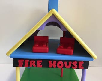 Wooden toy Firehouse, Pretend play, Houses, Buildings, Toddler Toys