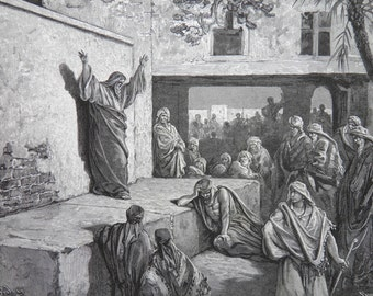 Israelites by Gustave Dore Antique Print C. 1870 Holy Bible (141)