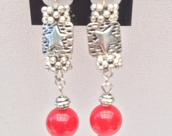 Red Ruby bead Earrings