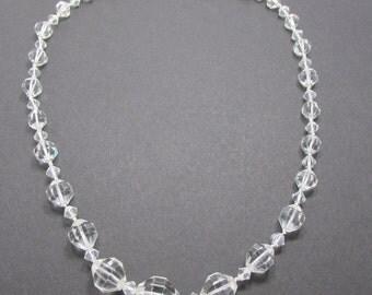 Elegant Vintage 1940s Single Strand Graduated Lead Crystal Necklace