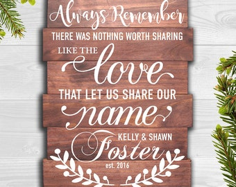 Always Remember There Was Nothing Worth Sharing Like The Love That Let Us Share Our Name - Custom Wood Sign, Avett Brothers, Personalized