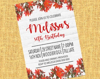 DIGITAL FILE- Vintage floral themed birthday invitation