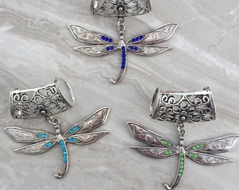Silver Dragonfly Scarf Bail, scarf pendant, scarf ring, scarf slider, scarf accessory, scarf jewelry, scarf jewellery, scarf charm