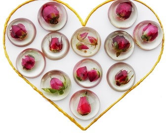 Rosebud cabochons Real rose resin cabochon Dried flowers Red rose flat back cabochons Unique supplies Unique cabochons Ihappywhenyouhappy