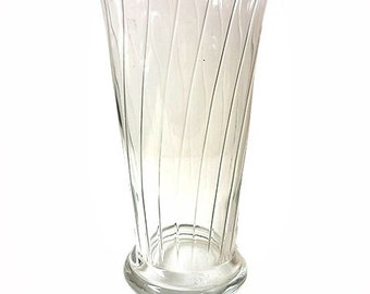 Clear Vertically Ribbed Vase