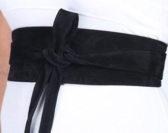 Black Suede Belt | Black Suede Obi Belt | Corset Waist Belt | Sash Tie Belt | Womens Leather Belt| Handmade Belt |Petite to Plus size belts