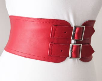 Red Corset Leather Two Gold Buckle Belt | Red Corset Belt | Red Waist Belt | Leather Buckle Belt | Red Leather Buckle Belt | Cinch Belt