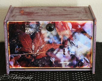 One of a Kind, Hand Painted Bread Box Featuring Original Photography (Fall Leavs Under Water).