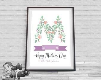Printable Monogram Floral Print