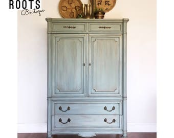 SOLD- Shabby chic Duck egg blue vintage Armoire- tall dresser with multi dinensional color washes and gold gilding. San Francisco Bay Area
