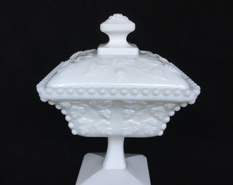 Westmoreland Milk Glass Compote or Candy Dish in Paneled Grape Pattern