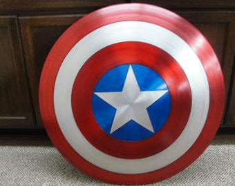 "Extra Large Size 30"" Diameter! Captain America Shield Replica, Spun Aluminum Metal"
