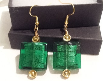 Emerald Green & Antique Gold Chunky Earrings Handmade By Emerald Forest Designs