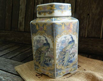 Bone China Oriental/Exiotic Bird/Flowers Ornate Grey Hexagonal Tea Caddy with Lid.
