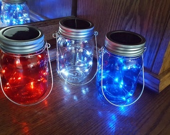 Hanging Red White Blue Mason Jars with Solar Lid Lights - Firefly Lights - 3 Jar Set - fairy light, solar mason jar