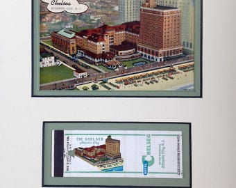 Atlantic City, NJ, Chelsea Hotel, Vintage Postcard, matchbook, matted to frame in 8 x 10, Teplitskys, The Chelsea