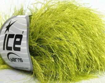 400 gr Apple Green Long Eyelash Novelty Yarn, Super Bulky Knitting Yarn, Chunky Yarn, Fun Fur Craft Yarn, Wholesale Yarn