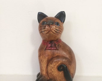 Small Wooden Cat Sculpture