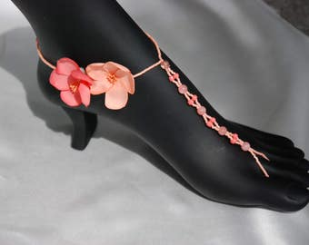 Coral beaded barefoot sandals;barefoot beach sandals;barefoot sandals