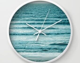 Ocean Ripples, Ocean Wall Clock, Ocean Photography, Sea, Nature, Wall Art, Blue, Home Decor, Art Decor, Wall Deco, Waves, Ripples, Clock