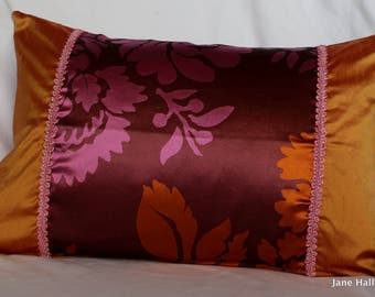 """12""""x 18"""", Bohemian Style, Decorative Pillow Cover, in Magenta and Orange, Designers Guild Silk Fabrics, By Jane Hall Design"""