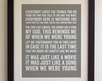FRAMED Lyrics Print - Adele, When we were young - 20 Colours options, Black/White Frame, Wedding, Anniversary, Valentines, Fab Picture Gift